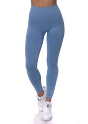 STRONG. - MODELUJĄCE LEGGINSY BEZSZWOWE BLUE MELANGE (PUSH UP)