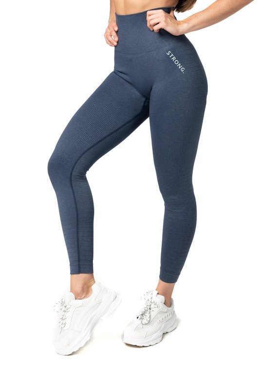 Bezszwowe Legginsy Double Push Up Revolution. Navy Blue Jeans.