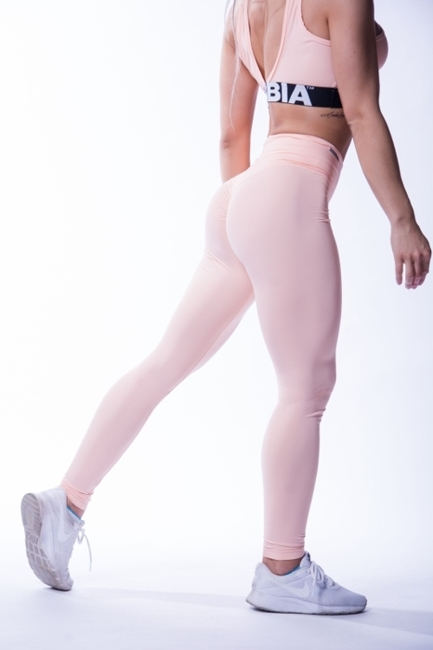 NEBBIA - Legginsy HIGH WAIST SCRUNCH BUTT N604 SALMON (PUSH UP)